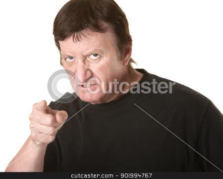 Enraged Mature Man stock photo, Enraged man points index finger on white background by Scott Griessel