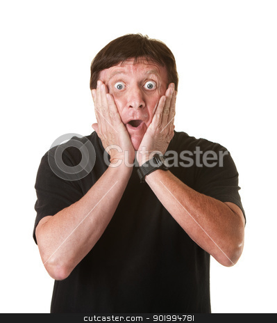 Surprised Mature Man stock photo, Surprised mature Caucasian man holds his head over white background by Scott Griessel