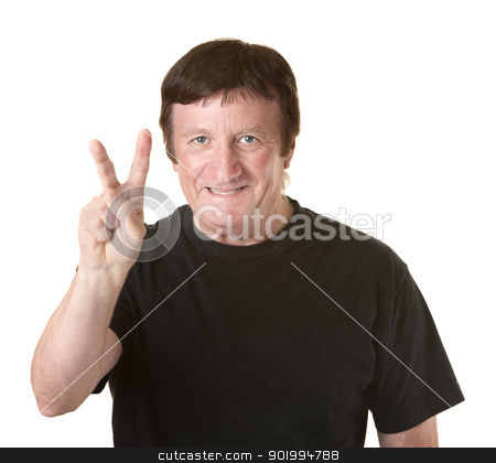 Man Shows Victory Symbol stock photo, Mature rugged Caucasian man gestures victoy symbol by Scott Griessel