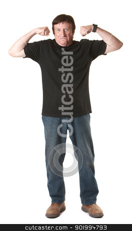Strong Man stock photo, Mature Caucasian man over white background shows off biceps by Scott Griessel
