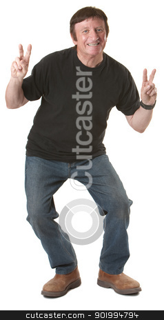 Man Showing Victory Symbol stock photo, Mature Caucasian man shows victory symbol over white background by Scott Griessel