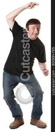 Mature Man Dances stock photo, Dancing mature Caucasian man over white background by Scott Griessel