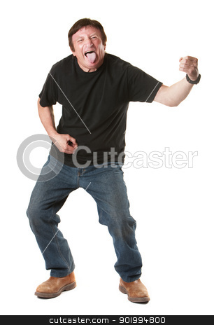Man Plays An Air Guitar stock photo, Mature Caucasian over white background man sticks his tongue out by Scott Griessel