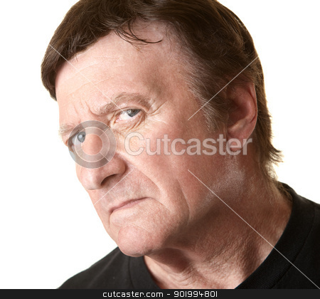 Suspicious Middle-Aged Man stock photo, Suspicious mature Caucasian man over white background by Scott Griessel