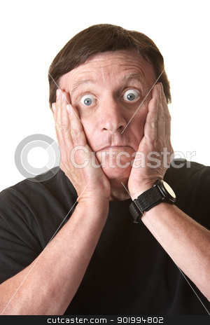 Surprised Man stock photo, Surprised Caucasian man with both hands on his face by Scott Griessel