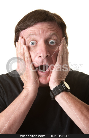 Shocked Man stock photo, Shocked mature man with hands on face over white background by Scott Griessel