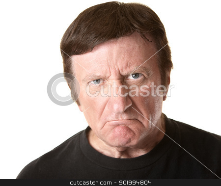 Skeptical Mature Man stock photo, Skeptical mature man over white background by Scott Griessel