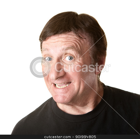 Excited Mature Man stock photo, Mature man excited over something on white background by Scott Griessel