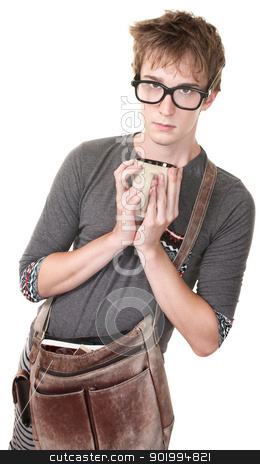Messenger With Mug stock photo, Skinny nerd with messenger bag and mug over white background by Scott Griessel