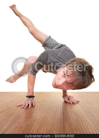 Teen Doing Yogasana stock photo, Caucasian teen in Koundinyasana posture over white background by Scott Griessel