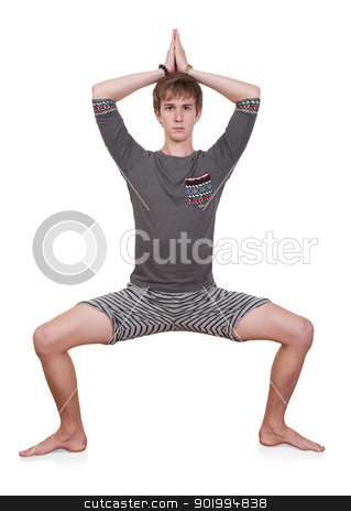 Young Man Exercising stock photo, Young Caucasian man exercises with hands together over head on white background by Scott Griessel