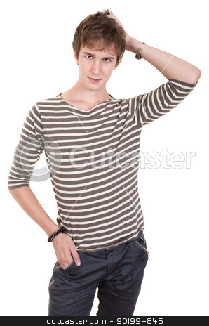 Teen With Hand On Head stock photo, Young Caucasian man with hand on head over white background by Scott Griessel