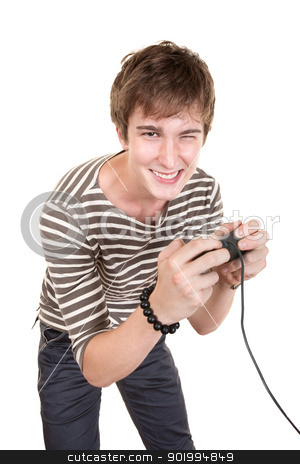 Teen Plays Video Game stock photo, Smiling Caucasian teen holds video game controller over white background by Scott Griessel