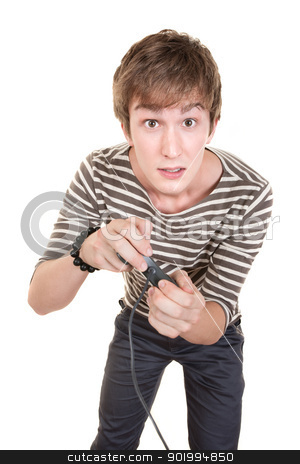 Teen With Game Controller stock photo, Young Caucasian man holds video game controller over white background by Scott Griessel