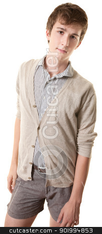 Laidback Young Man stock photo, Laid-back young man stands over white background by Scott Griessel