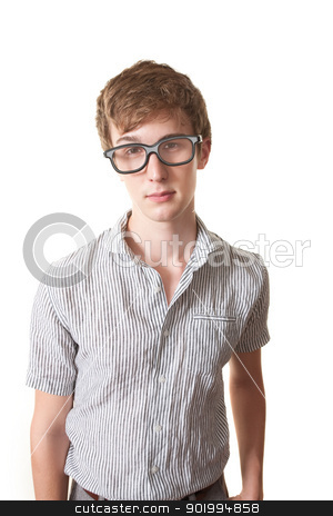 Serious Nerd stock photo, Serious nerd with glasses over white background by Scott Griessel