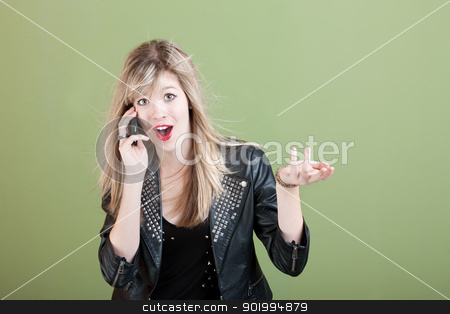 Teen On Phone Call stock photo, Pretty retro-styled teen on phone call over green background by Scott Griessel