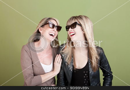 Happy Mother and Daughter stock photo, Happy Caucasian mom and daughter with sunglasses laugh together by Scott Griessel