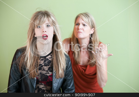 Unhappy Mother stock photo, Mom upset over daughter's inappropriate clothing by Scott Griessel
