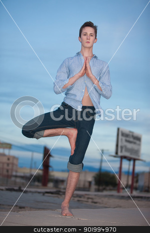Young Man Doing Yoga stock photo, Young Caucasian man doing the Vrksasana yoga posture outside by Scott Griessel