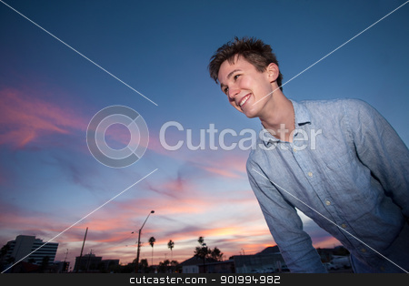 Happy Young Man stock photo, Happy young Caucasian man in a outdoor location by Scott Griessel