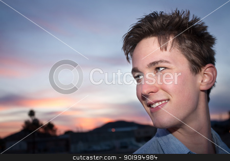 Happy Young Man Outside stock photo, Smiling Caucasian man in an outdoor location by Scott Griessel
