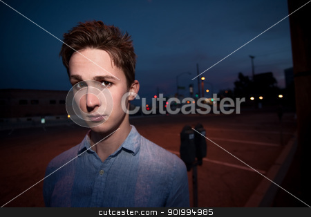 Serious Young Man stock photo, Serious young man in an outdoor location by Scott Griessel