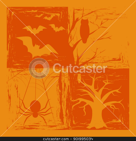 Halloween Background stock vector clipart, Abstract Halloween Background on Orange Color by meikis