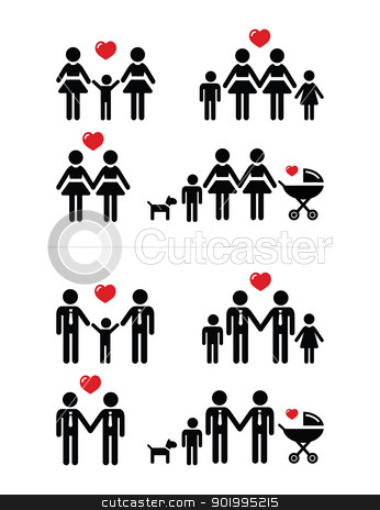 Gay, lesbian couples and family with children icons set stock vector clipart, Gay marriage, gay rights, adoption by gay couples concept by Agnieszka Bernacka