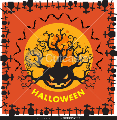 Halloween RIP border background orange stock photo, Halloween is a holiday on Oct 31, includes activities trick-or-treating, costume parties, carving jack-o'-lanterns, bonfires, apple bobbing, haunted attractions, playing pranks, telling scary stories. by Sailom