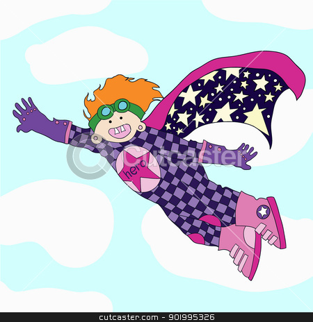 Cheerful super hero  stock vector clipart, Cheerful super hero - rescuer. vector illustration.  by Natalia Konstantinova