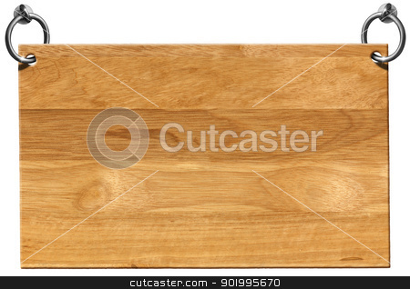 Empty Wooden Signboard with clipping path stock photo, Light Brown Wooden sign hanging on to two steel ring isolated on white by catalby