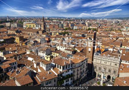 Verona Panoramic View - Italy stock photo, Panorama of the city of Verona from Lamberti Tower - Italy  by catalby