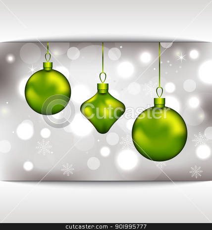 Holiday glowing invitation with Christmas balls stock vector clipart, Illustration holiday glowing invitation with Christmas balls - vector by -=Mad Dog=-