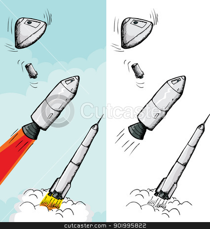 Manned Rocket Stages stock vector clipart, Rocket in various stages and different backgrounds by Eric Basir