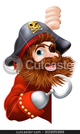 Pirate showing a sign stock vector clipart, A laughing cartoon pirate with a hook and eye patch peeking out pointing out a message by Christos Georghiou