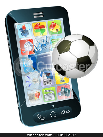Soccer ball flying out of cell phone stock vector clipart, Illustration of an soccer ball flying out of cell phone screen by Christos Georghiou