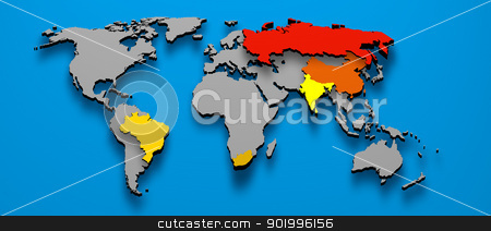 Political map BRICS Brazil China Russia India South Africa stock photo, 3D illustration political map of BRICS Brazil China Russia India South AFrica by marphotography