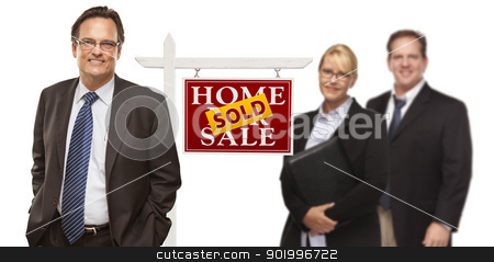 Men and Woman with Real Estate Sign Isolated stock photo, Businessmen and Businesswoman with Sold Home For Sale Real Estate Sign Isolated on a White Background. by Andy Dean