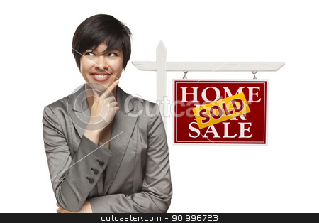 Woman and Sold Home For Sale Real Estate Sign Isolated stock photo, Ethnic Woman in Front of Sold Home For Sale Real Estate Sign Isolated on a White Background. by Andy Dean
