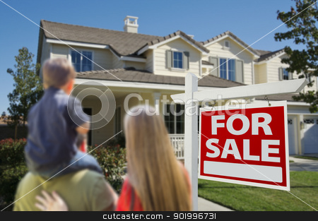 Family Looking at New Home with For Sale Sign  stock photo, Young Family Looking at a Beautiful New Home with a For Sale Real Estate Sign in Front. by Andy Dean