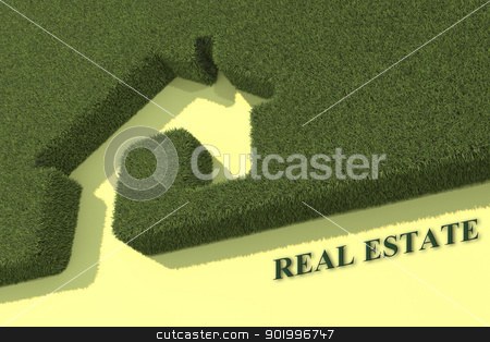 eco green house stock photo, Green grass house symbol by vitanovski