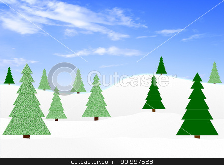 Winter landscape with fir-trees stock photo, Winter landscape with green fir-trees under the dark blue sky by Anatolii Vasilev