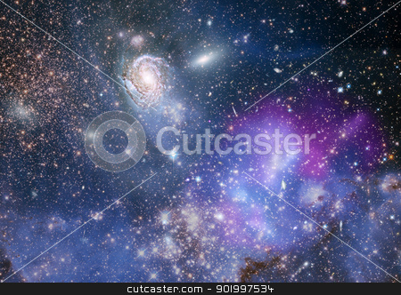 Far away galaxy stock photo, Stars of a planet and galaxy in deep space by Anatolii Vasilev