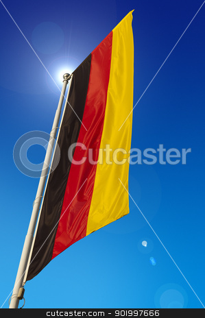 Germany Flag stock photo, Vertical Germany Flag - waving in the blue sky