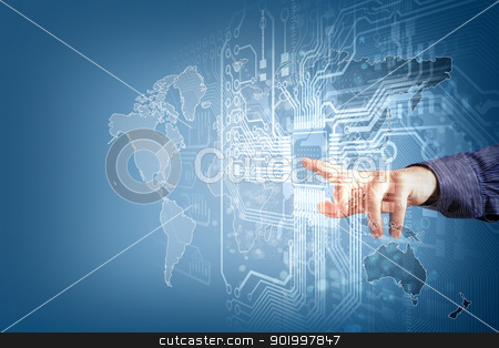 future technology. touch button inerface stock photo, future technology and touch button inerface illustration by Sergey Nivens