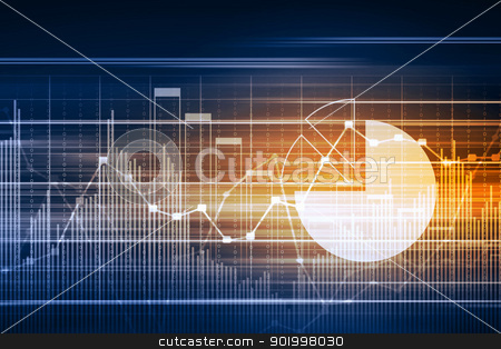 Database Table stock photo, Business graph with arrow showing profits and gains by Sergey Nivens