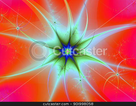 Supernova in Orange and Blue stock photo, Digital abstract image with an exploding star design in orange, light blue and green. by Colin Forrest
