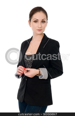Portrait of a beautiful business woman  stock photo, Portrait of a beautiful business woman on white background by Vadim