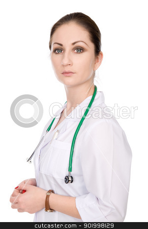Portrait young female doctor stock photo, Portrait young female doctor, isolated over white background by Vadim